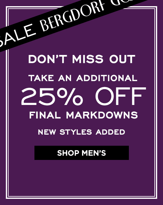 Extra 25% Off Final Markdowns Sale - Men