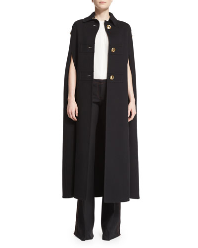 Three-Button Military Cashmere Cape Coat, Black