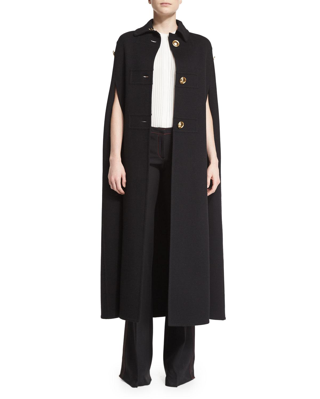 Three-Button Military Cashmere Cape Coat, Black