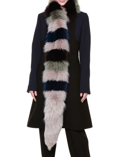 Tricolor Arctic Fox Fur Scarf, Blue/Green
