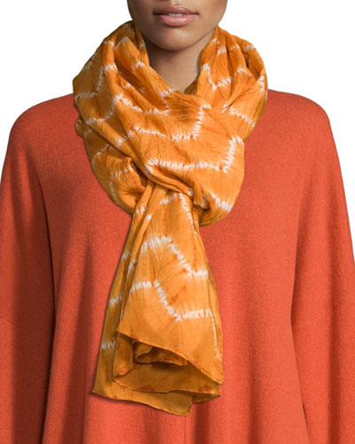 Hand-Dyed Shibori Scarf, Orange