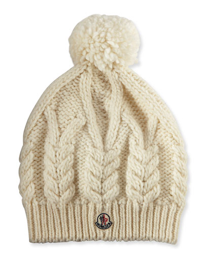 Cable-Knit Hat w/Pompom, White