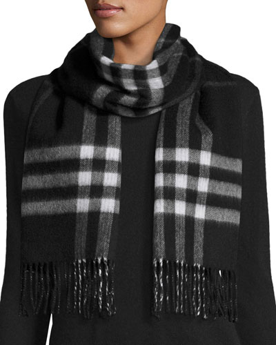Metallic Cashmere-Blend Check Scarf, Black