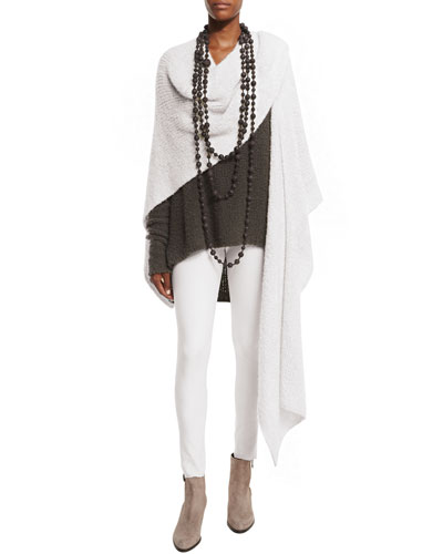 Knit Cashmere/Silk Cloud Wrap, White Smoke
