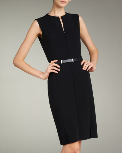 Zip-Front Double-Face Dress