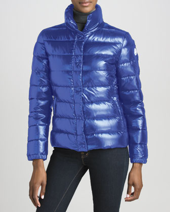 Short Laque Puffer Jacket, Royal
