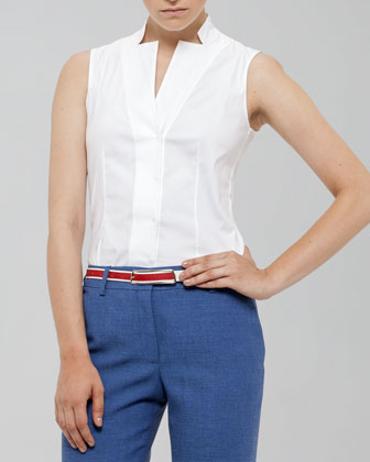 Akris Sleeveless Notched Collar Blouse