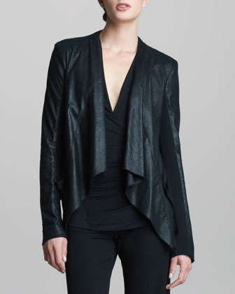 Lambskin Leather Drape Jacket