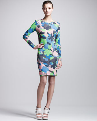 Leaf-Print Long-Sleeve Jersey Dress