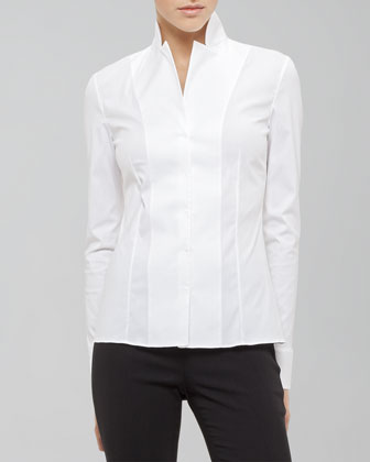 Akris Long-sleeve Notched-collar Poplin B