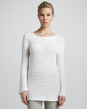 Long-Sleeve Sweater, White