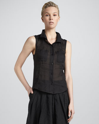 Donna Karan Sleeveless Open-back Blouse,