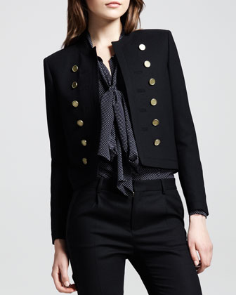 Cropped Wool Band Jacket