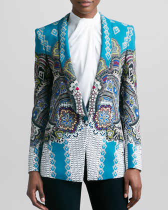 Etro Shawl-collar Printed Jacket, Teal/mu
