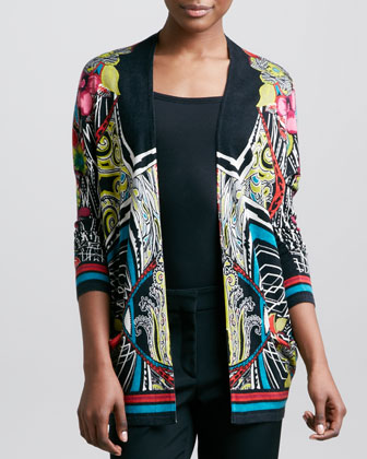 Etro Printed Open Cardigan, Black/multico