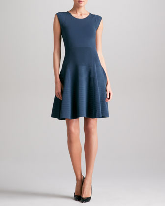 Donna Karan Fit & Flare Dress, Slate Blue