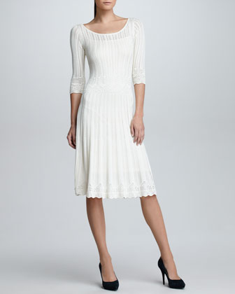 Elbow-Sleeve Crochet Sweater Dress, Cream