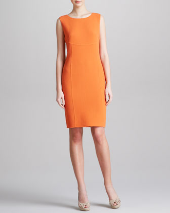 Striped Sleeveless Sheath Dress, Tangerine