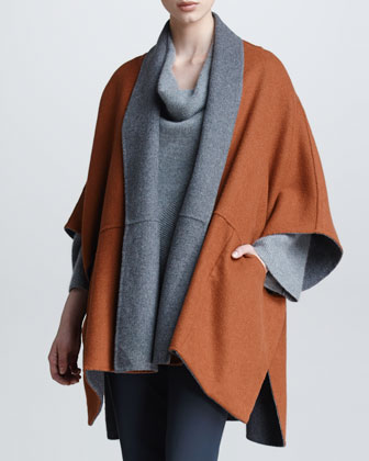 Reversible Wool Melton Cape