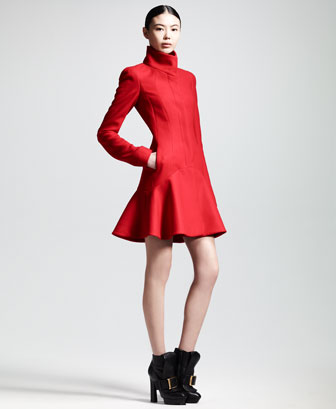Crepe Wool Flounce-Hem Dress Coat
