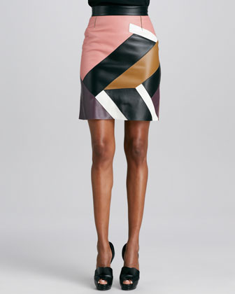 Mondrian Patchwork Leather Skirt