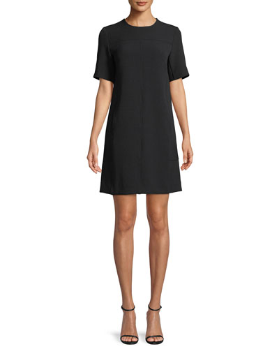 Short-Sleeve Seamed Tunic Dress, Ivory