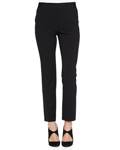 Elastic-Waist Slim Pants, Black