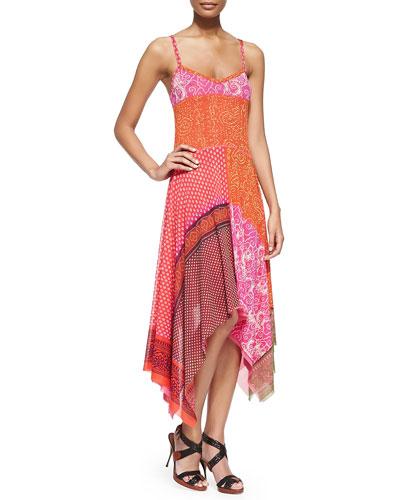 Patchwork Handkerchief Slip Dress