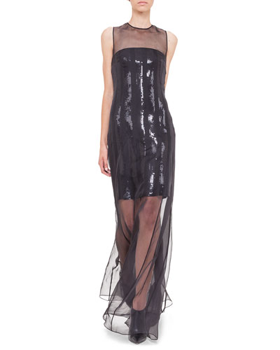 Strapless-Illusion Sequin Chiffon Gown