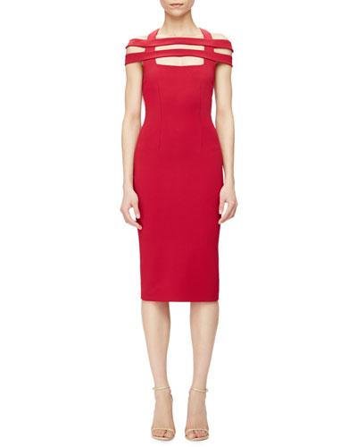 Strappy-Shoulder Jersey Sheath Dress, Red