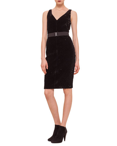 Allover Sequined Belted Sheath Dress