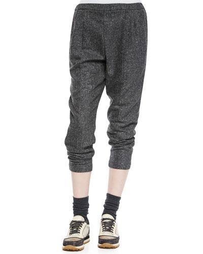 Tweed Cropped Harem Pants