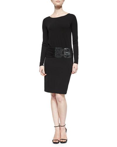 Drop-Waist Croc-Embossed Belted Dress