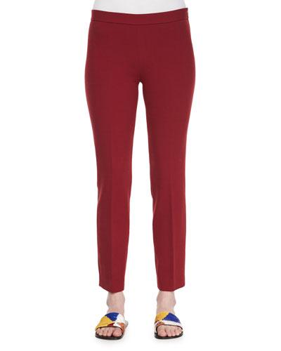 Skinny Side-Zip Stretch-Wool Canvas Pants, Crimson Red