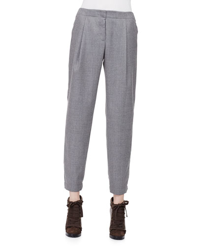 Smocked-Cuff Pleated Ankle Pants