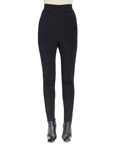 High-Waist Skinny-Leg Pants, Black