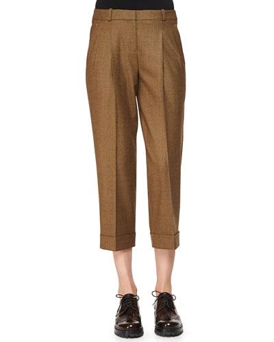 Slouched Tic Weave Capri Pants