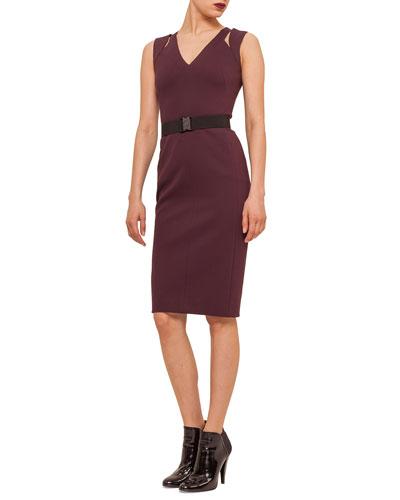 Slit-Shoulder Jersey Sheath Dress