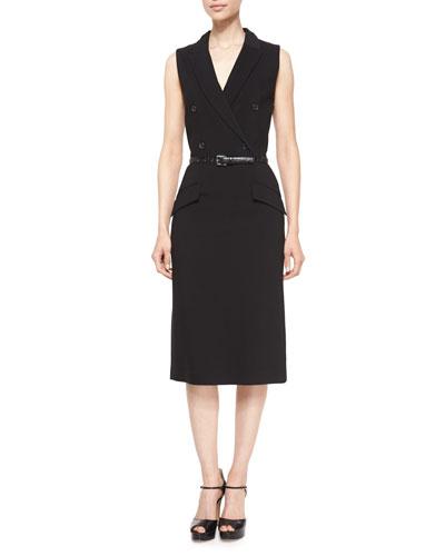 Sleeveless Belted Tuxedo Dress, Black