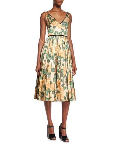V-Neck Floral Ikat Fit-And-Flare Dress