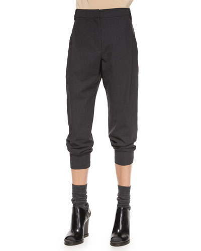 Wool Single-Pleat Cropped Pants
