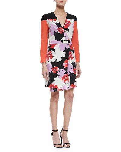 Floral-Print Pleat-Detailed Wrap Dress