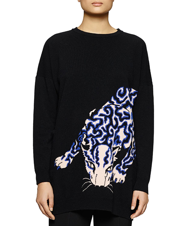 Leopard-Print Knit Sweatshirt