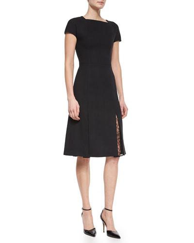 Lace-Godet-Hem Short-Sleeve Dress