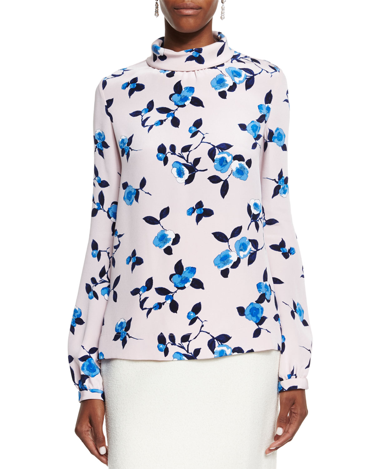 Scattered Pansies Long-Sleeve Blouse, Soft Pink