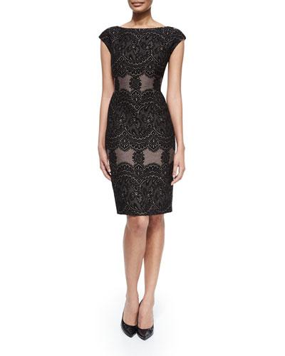 Cap-Sleeve Combo Sheath Dress, Black/Pine