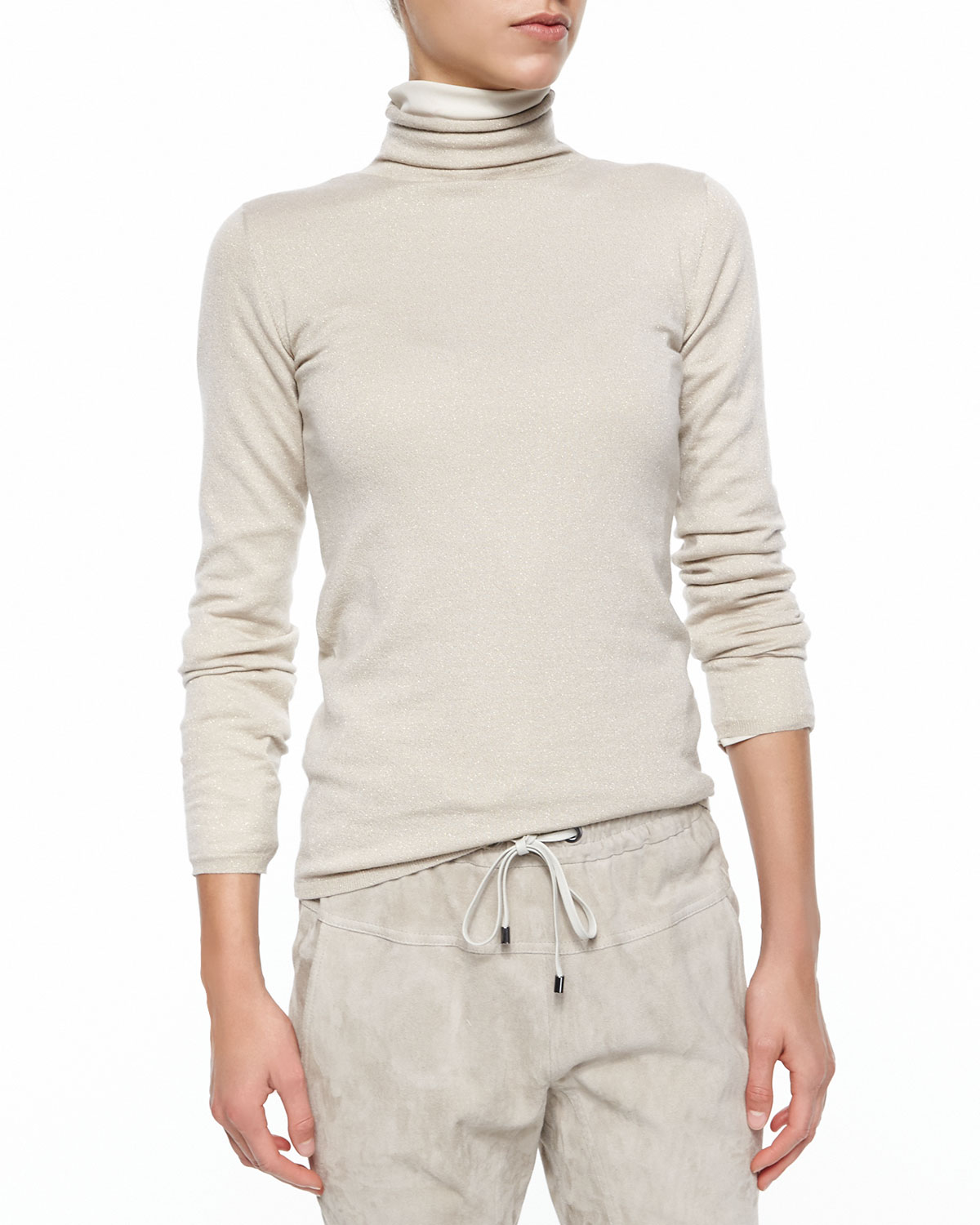 Cashmere-Blend Shimmery Turtleneck Top
