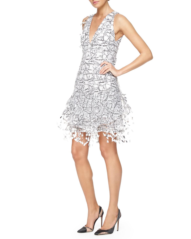 Threaded Paillette Fringe Cocktail Dress Dress