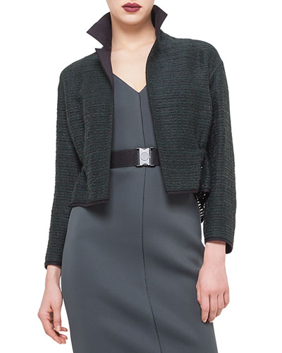 Drawstring-Waist Cropped Jacket, Bottle