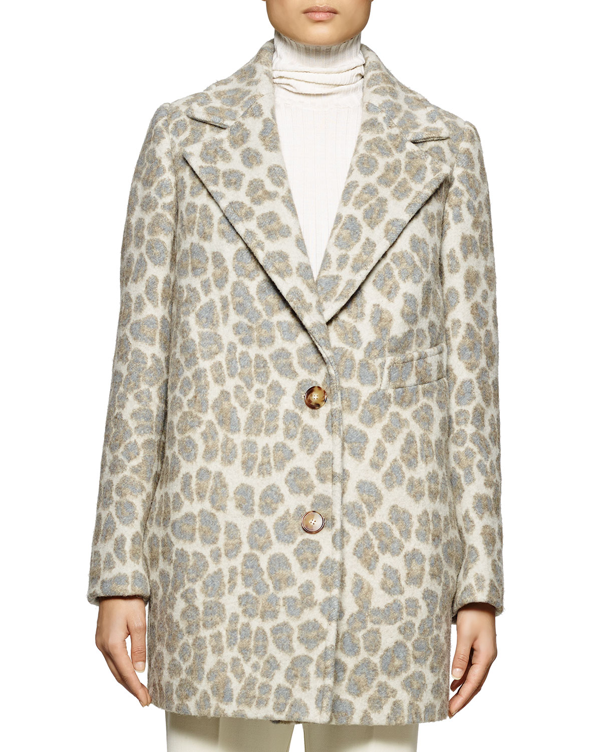 Leopard-Print Double-Button Coat